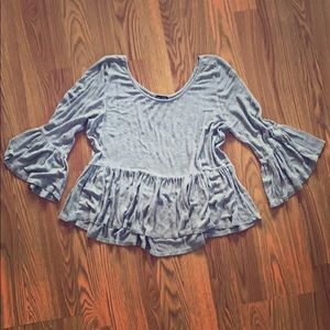 Gray bell-sleeve top